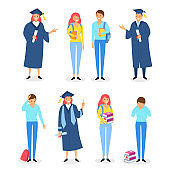 Happy and sad graduates set with books, diploma and certificates. Student fail exam and pass exams successfully. University study program and successful learning class vector illustration isolated