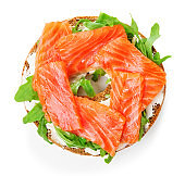 bagel salmon sandwich isolated