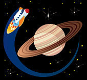 Saturn and Space Ship