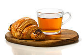 Fresh croissant and a Cup of tea