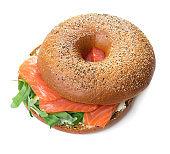 single bagel sandwich isolated