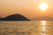 Sunset view from the ferryboat in the Iseo lake