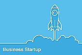 Rocket icon launching from floor startup concepts