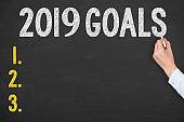 Human Hand Drawing Goals 2019 on Chalkboard
