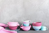 Background with colorful crockery