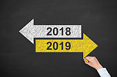 Old Year or New Year 2019 on Chalkboard