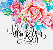 thank you - hand lettering text on handmade watercolor pink rose