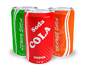 cans soda cola orange lemon
