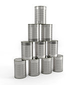 tin cans pyramid
