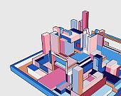 colorful 3D building model