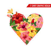 Love Romantic Floral Heart Design with Red and Yellow Hibiscus Flowers for Prints, Fabric, T-shirt, Posters. Spring and Summer Tropical Background. Vector illustration