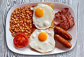 English breakfast with two eggs sausage beans