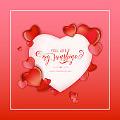 3d Colorful Hearts for Happy Valentines Day Hand Drawn Lettering design, Love card vector illustration, Wedding Party Flyer or Poster