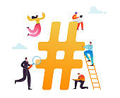 Hashtag Social Media Concept. Characters Using Mobile Devices for Posting Messages in Social Network. Man and Woman Virtual Communication. Vector illustration