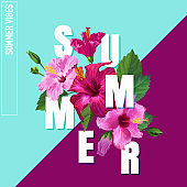 Hello Summer Poster. Floral Design with Pink Hibiscus Flowers for T-shirt, Fabric, Party, Banner, Flyer. Tropical Botanical Background. Vector illustration