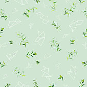 Floral Seamless Pattern with Tropical Leaves and Geometric Shapes. Natural Background for Fabric, Wallpaper, Decoration. Vector illustration