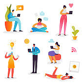 Social Media Network Concept. Characters using Mobile Gadgets Smartphone, Laptop, Tablet for Online Communication. Man and Woman Chatting on the Internet. Vector illustration