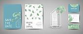 Set of Botanical retro wedding invitation card, modern Save the Date, template design of ginkgo biloba leaves illustration. Vector trendy cover, pastel graphic poster, brochure