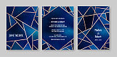 Starry Night Sky Trendy Wedding Invitation Card Set, Save the Date Celestial Template of Galaxy, Space, Stars Illustration in vector