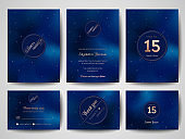 Starry Night Sky Trendy Wedding Invitation Card, Save the Date Monogram Celestial Template of Galaxy, Space, Stars Illustration in vector