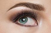Close up of eye and makeup