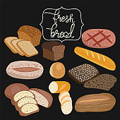 rye bread, ciabatta, wheat bread, whole grain bread, bagel, sliced bread, french baguette and lettering fresh bread.