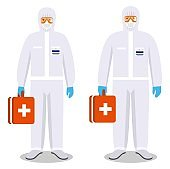 Medical concept. Couple of man and woman in protective suits standing together on white background in flat style. Dangerous profession. Virus, infection, epidemic, quarantine. Vector illustration.