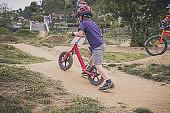 Toddler on balance bike