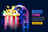 Vector neon cinema and home movie time concept. Film reel and popcorn modern illustration. Sale cinema theatre tickets.