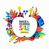 Vector back to school sale banner, poster template. Apple frame with color gradients leaves, pencils, clock, backpack