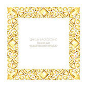 Vector square frame from realistic golden gems and jewels on white background. Shiny diamonds jewelry design elements.