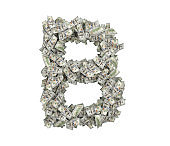 3d rendering of a large isolated large letter B made of one hundred dollar bills