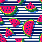 Vector seamless pattern with 3d style watermelon slices and navy striped background. Summer fashion textile print.