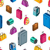 Vector seamless pattern with 3d isometric luggage, suitcase, bags. Design for textile print, travel, tourism background.
