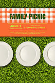 Vector realistic 3d illustration of plates, plaid on green grass lawn. Picnic in park. Banner, poster design template