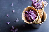 Delicious berry blackberry ice cream in waffle cone and lilac flowers. Summer delicious dessert. Top view, copy space