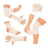 Elastic bandage on injured human body parts set