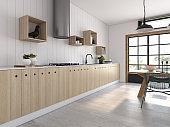 Modern style interior design 3D rendering
