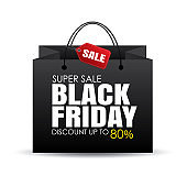 Black friday shopping bag and sale tag on white background. Use for discount, promotion, advertising template.