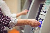 Inserting credit card in ATM machine