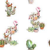 Seamless pattern exotic bright bird Flamingo with blooming flowers and cactus. Isolated decorative element. Watercolor bird concept. Tropical concept. flower concept