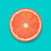 Grapefruit Segment Mint Background