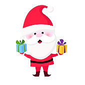 Happy Santa Claus giving Christmas gifts