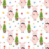 Seamless pattern with cute pig with bow tie and Christmas decoration isolated on white background