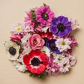 Flower arrangement background of beautiful cut flowers
