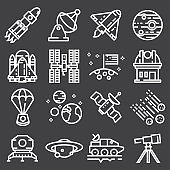 Vector Astronomy and Space Icons.