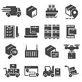 Vector black delivery icons set