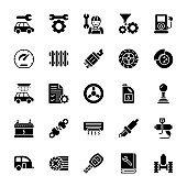 Car Service Glyph Vector Icons