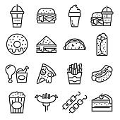 Vector FastFood and street food icons set.