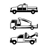 Set of accident transport in line style silhouette concept design